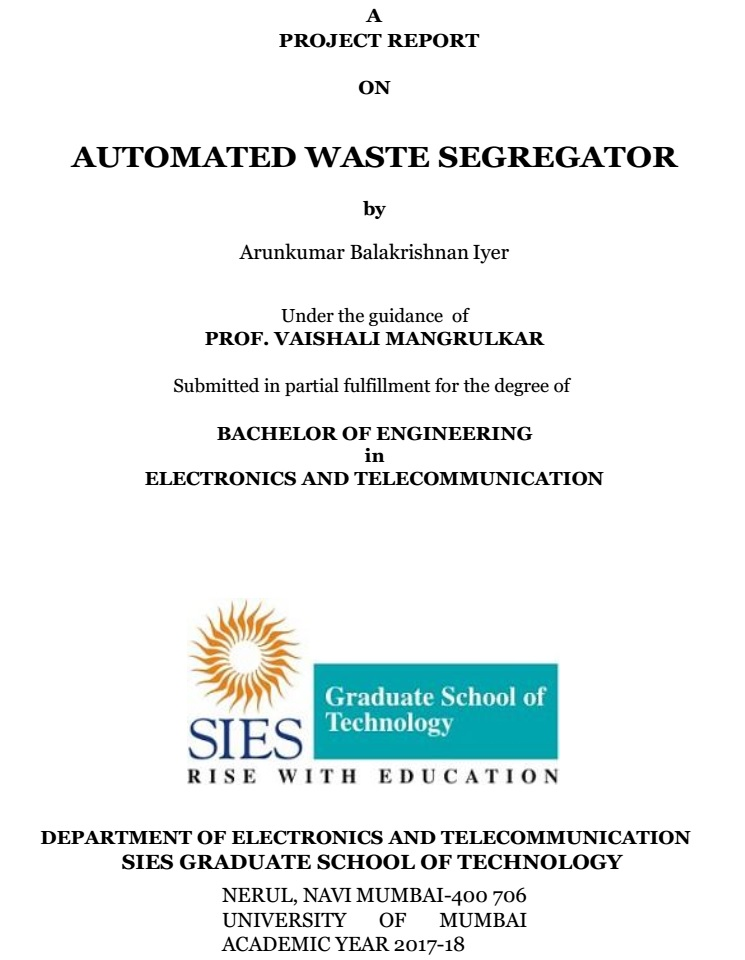 Arduino Based Automated Waste Segregator Final Year Project