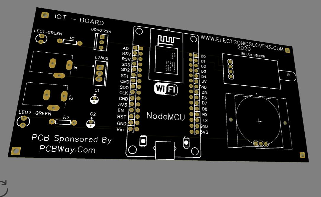 3D PCB board view